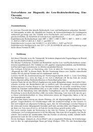 Testverfahren zur Diagnostik der Lese-Rechtschreibstörung. Eine ...