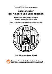 Symposium Essstörungen - Klinik und Poliklinik für Kinder