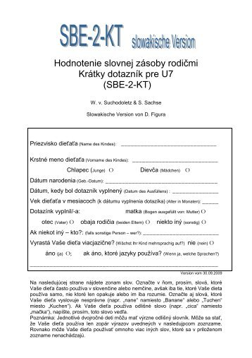 Hodnotenie slovnej zásoby rodičmi Krátky dotazník pre U7 (SBE-2-KT)