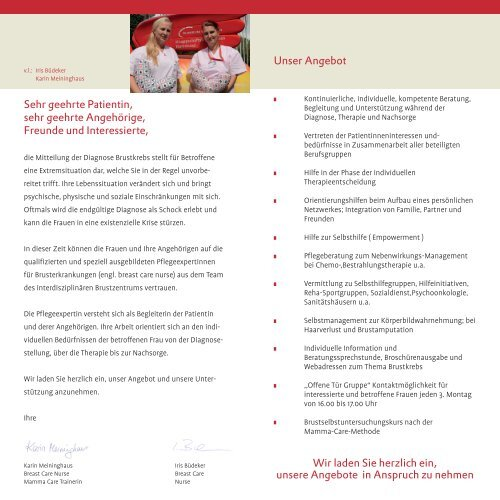 Flyer Breast-Care-Nurse - Knappschaftskrankenhaus Dortmund