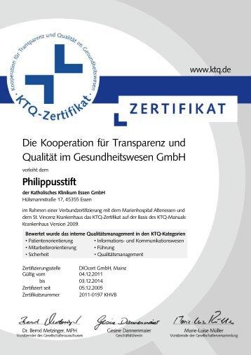 Link Zertifikat - Katholisches Klinikum Essen