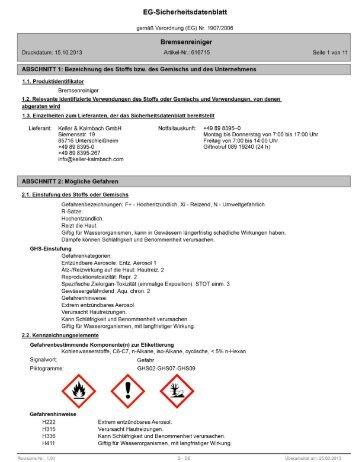 Sicherheitsdatenblatt Bremsenreiniger Spray