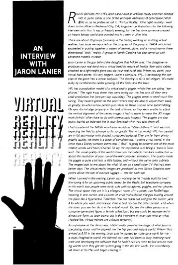 Virtual Reality; an Interview with Jaron Lanier - Kevin Kelly