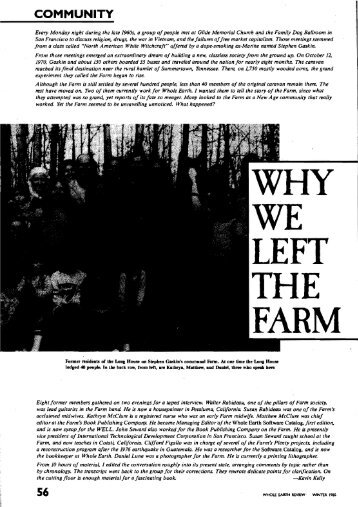 Why We Left The Farm - Kevin Kelly
