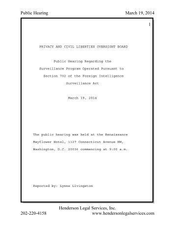 19 March 2014 PCLOB Public Hearing_Panel I Transcript