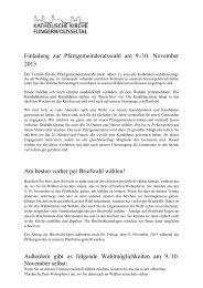 Einladung zur Pfarrgemeinderatswahl am 9./10. November 2013 Am ...