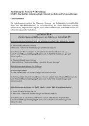 Curriculum für die Weiterbildung Anästhesie - KKRN
