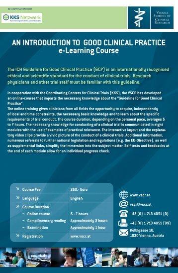 VSCR GCP E-Learning Course - KKS-Netzwerk