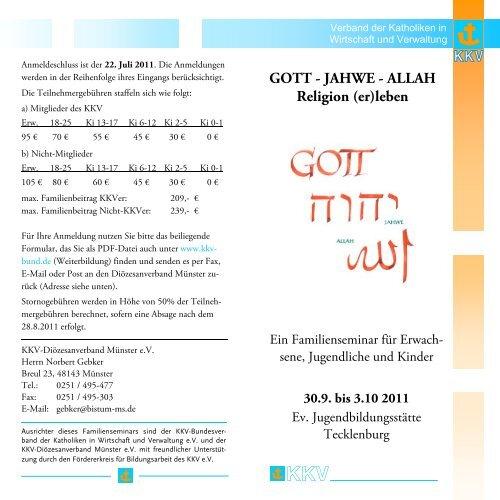 GOTT - JAHWE - ALLAH Religion (er)leben