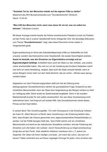 Aussagen zum Grundeinkommen (2009) - KKV Bundesverband
