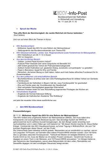 Infopost November 2010 - KKV Bundesverband