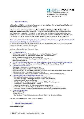Infopost Januar 2014 - KKV Bundesverband
