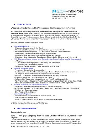 Infopost Nr. 7 - 13.08.2013 - KKV Bundesverband