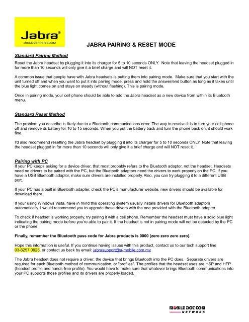Jabra Pairing Reset Mode