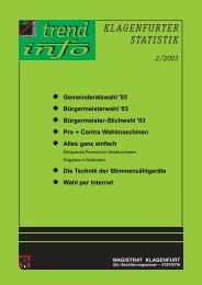 l Gemeinderatswahl '03 l Bürgermeisterwahl '03 l ... - Klagenfurt