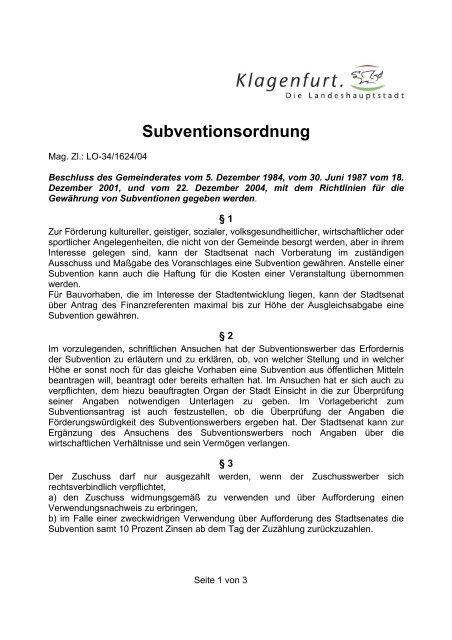 Subventionsordnung - Klagenfurt