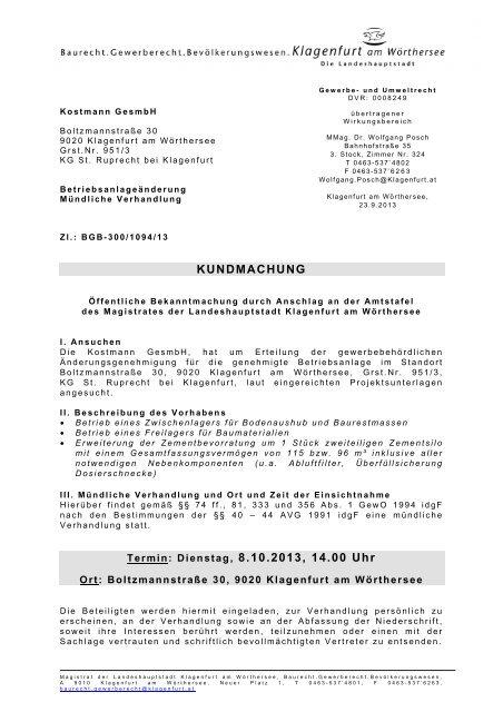KUNDMACHUNG Termin: Dienstag, 8.10.2013, 14.00 Uhr - Klagenfurt