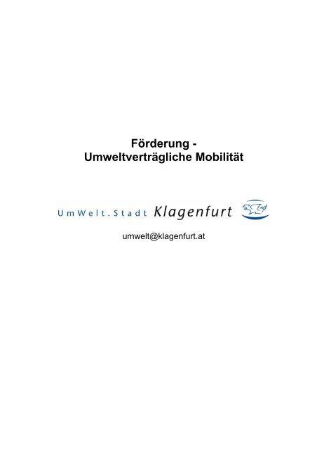 Förderung - Umweltverträgliche Mobilität - Klagenfurt