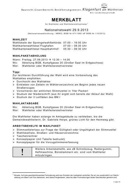 MERKBLATT - Klagenfurt