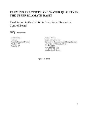 Undepleted Natural Flow Of The Upper Klamath River A Summary