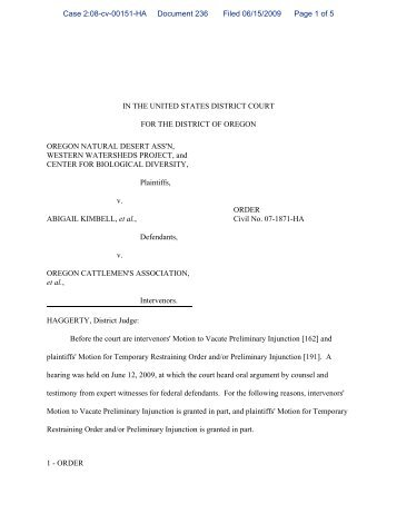 Judge Haggerty's Order - Klamath Basin Crisis