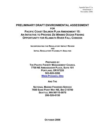 preliminary draft environmental assessment - Klamath Basin Crisis