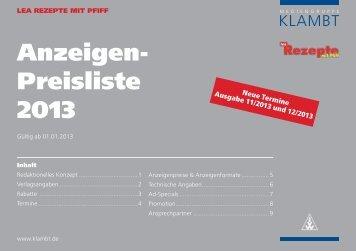 Anzeigen- Preisliste 2013 - Klambt-Verlag
