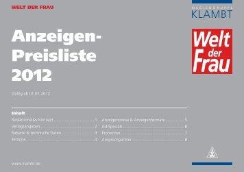 Anzeigen- Preisliste 2012 - Klambt-Verlag
