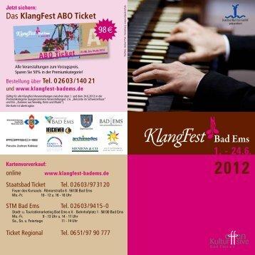 KlangFest Flyer 2012 - KlangFest Bad Ems