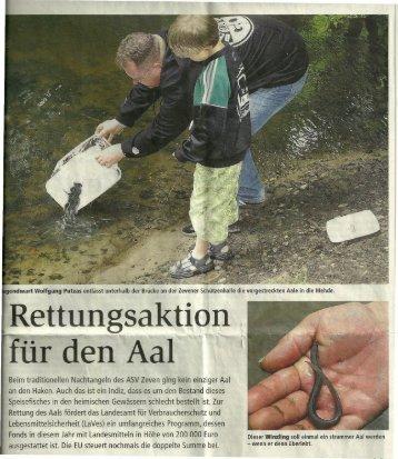 Rettungsaktion für den Aal - bei der Aalversandstelle