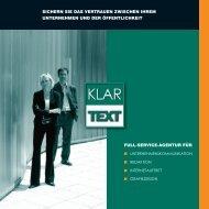 Booklet 2008 - Klartext - Agentur für klare Kommunikation