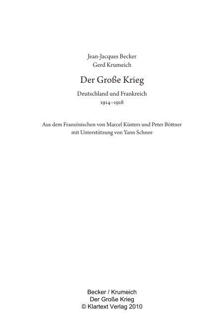Der Große Krieg - Klartext Verlag