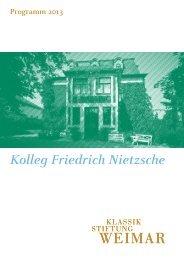 Programm Kolleg Friedrich Nietzsche 2013 - Klassik Stiftung Weimar