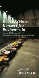 Rebecca Horn Konzert für Buchenwald - Klassik Stiftung Weimar