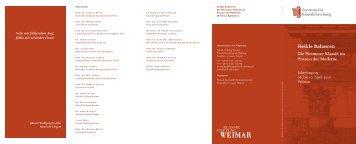 Das Programm der Jahrestagung 2010 - Klassik Stiftung Weimar