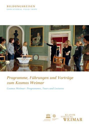 Programme, Führungen und Vorträge zum Kosmos Weimar