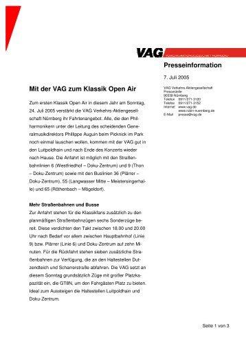 Presseinformation Mit der VAG zum Klassik Open Air