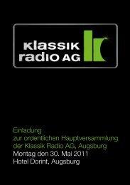 Einladung Hauptversammlung 2011 - Klassik Radio AG