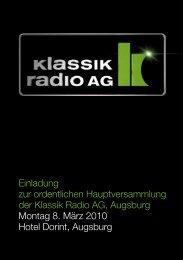 Einladung zur ordentlichen Hauptversammlung ... - Klassik Radio AG