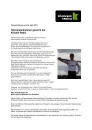 Pressemitteilung vom 26. April 2013. April 2013 - Klassik Radio AG