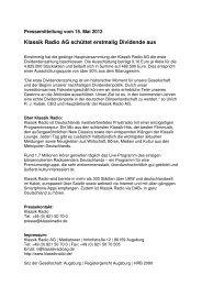 Pressemitteilung vom 15. Mai 2012 - Klassik Radio AG