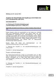 Meldung vom 22. Januar 2010 - Klassik Radio AG