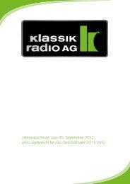 Jahresabschluss zum 30. September 2012 und ... - Klassik Radio AG