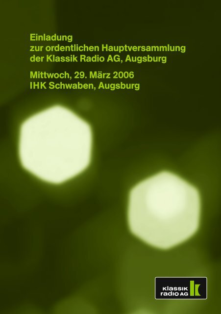 Einladung/Tagesordnung - Klassik Radio AG