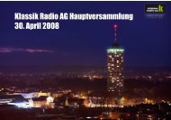 Vorstandspräsentation Hauptversammlung 2008 - Klassik Radio AG