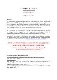 Vorlesungsverzeichnis SS 2011 - Seminar für Klassische Philologie