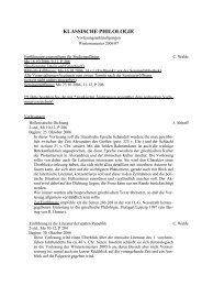 Vorlesungsverzeichnis WS 06/07 - Seminar für Klassische Philologie