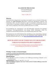 Für Hörer aller Fachbereiche - Seminars für Klassische Philologie