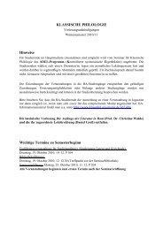 Vorlesungsverzeichnis WS 2010/11 - Seminar für Klassische ...