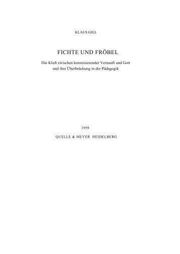 FICHTE UND FRÖBEL - Klaus Giel